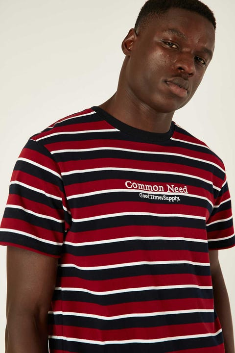 COMMON NEED San Diego Stripe Tee Navy/Red/White