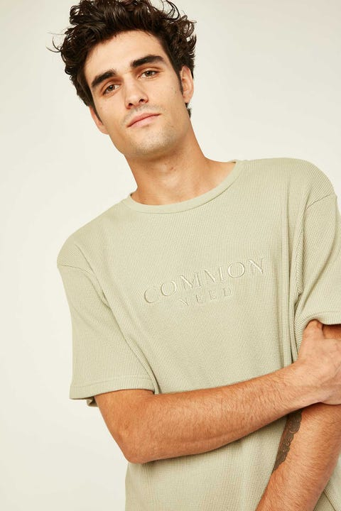 COMMON NEED Onyx Waffle Tee Dusty Jade