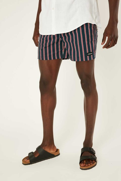 COMMON NEED Athlete Swim Short Navy Stripe