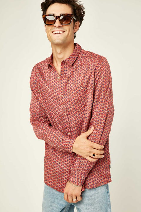 Rolla's Men At Work Floral Cord LS Shirt Rust