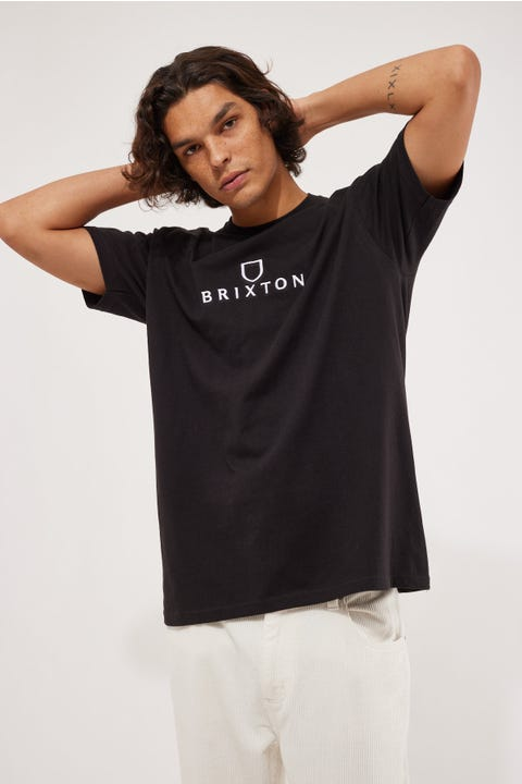 Brixton Alpha Thread Tee Black/Vanilla