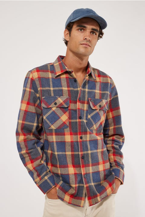 Brixton Bowery LS Flannel Shirt Red/Blue