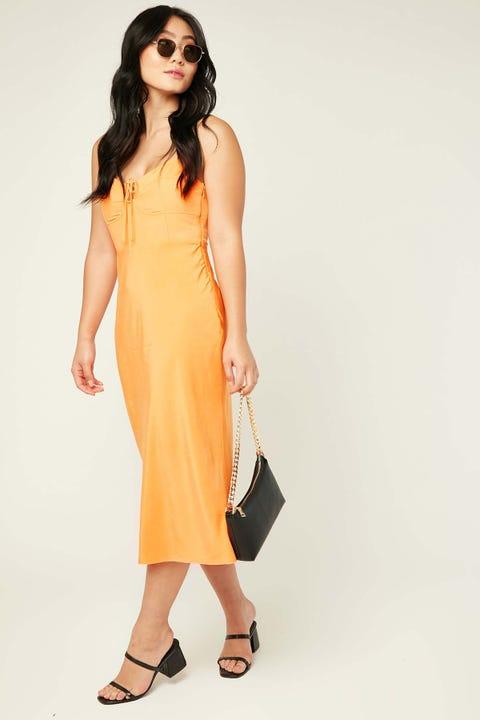 PERFECT STRANGER Spritz Midi Dress Orange