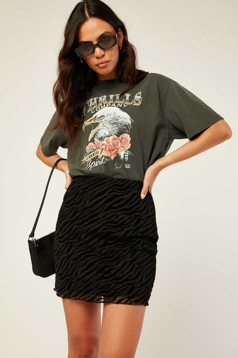 LUCK & TROUBLE Zebra Mesh Mini Skirt Black