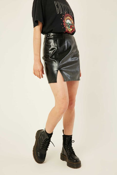 LUCK & TROUBLE Shiny PU Mini Skirt Black