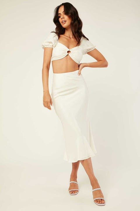 PERFECT STRANGER Melina Midi Skirt White