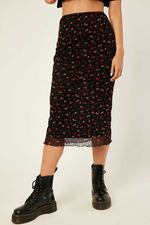 LUCK & TROUBLE Mesh Midi Skirt Black Floral