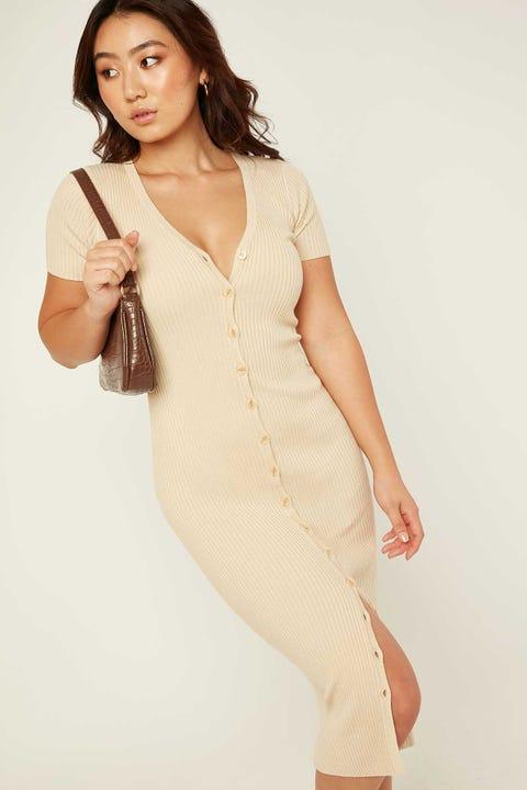 PERFECT STRANGER Olivia Knit Midi Dress Oatmeal