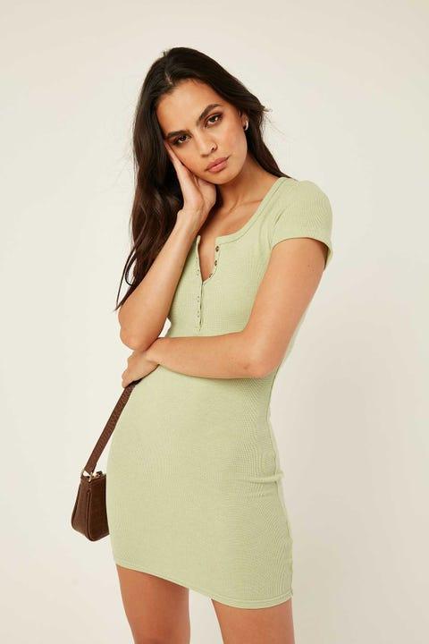 LUCK & TROUBLE Romy Mini Dress Green