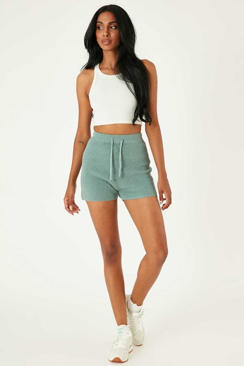 PERFECT STRANGER Knitted Short Teal