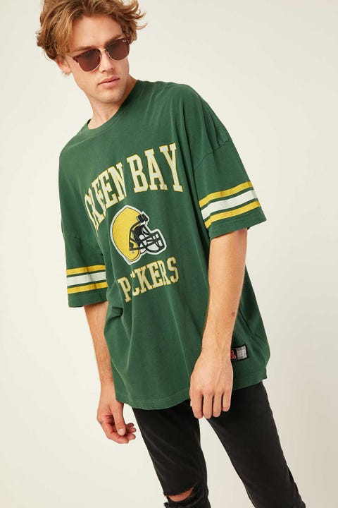 Majestic Athletic Packers NFL Stripe Sleeve Tee Bottle Green