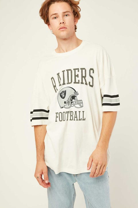 Majestic Athletic Raiders NFL Stripe Tee Bone White