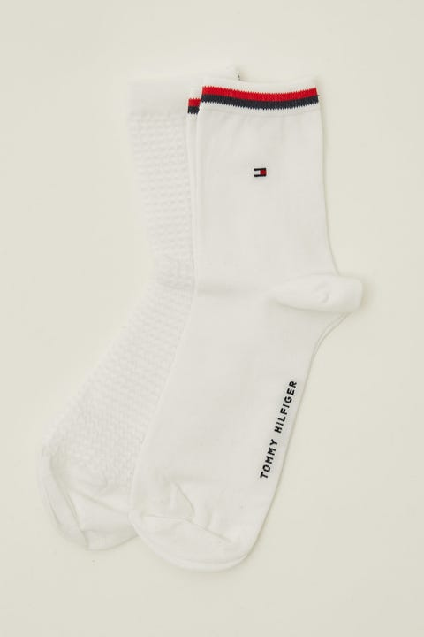 Tommy Jeans TH Sock 2Pk Waffle Wht White