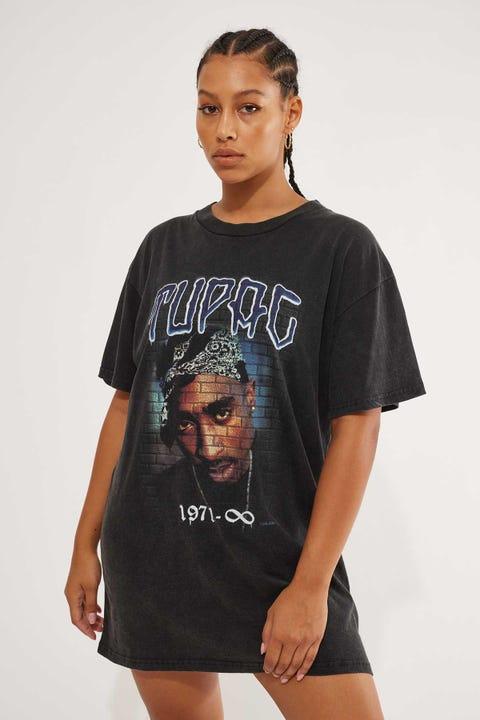 Bravado Tupac OS Tee Dress Washed Black
