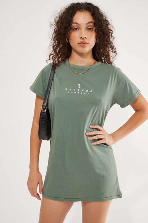 Thrills Stacked Tee Dress Lume Green