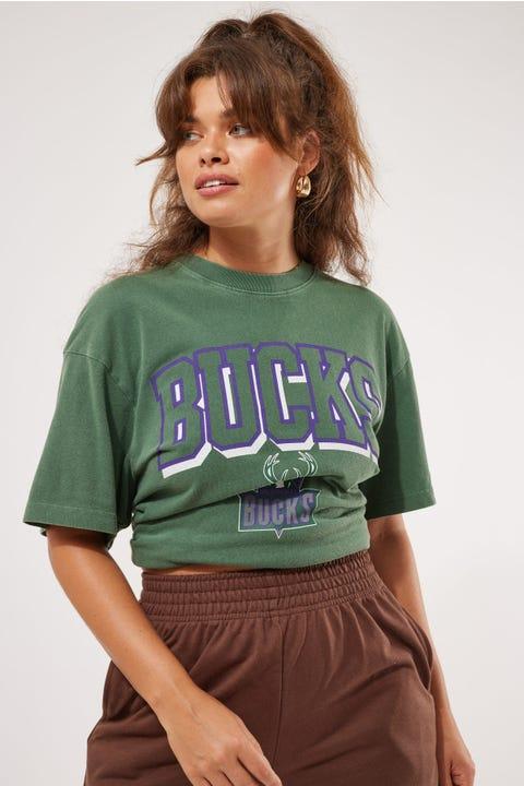 Mitchell & Ness Vintage Bucks Keyline Logo Tee Faded Bottle Green