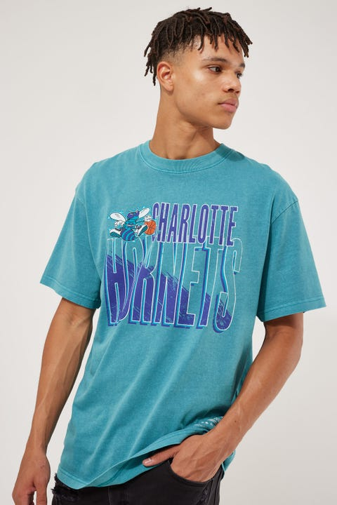 Mitchell & Ness Vintage Scribble Hornets Tee Faded Aqua