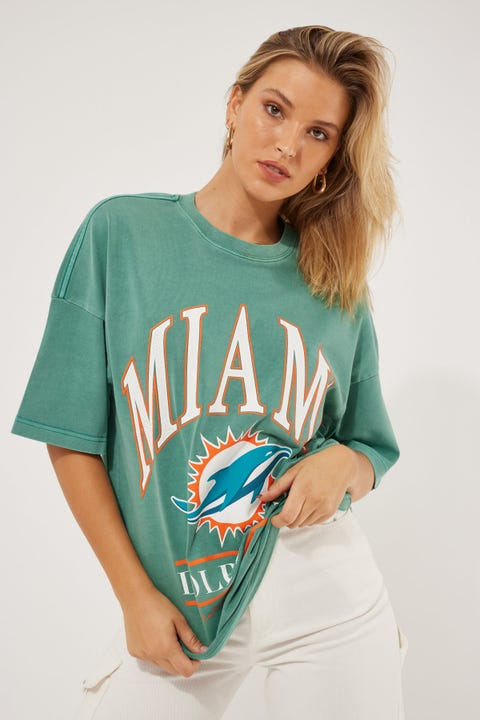 Majestic Athletic Vintage NFL Arch Dolphins Tee Teal