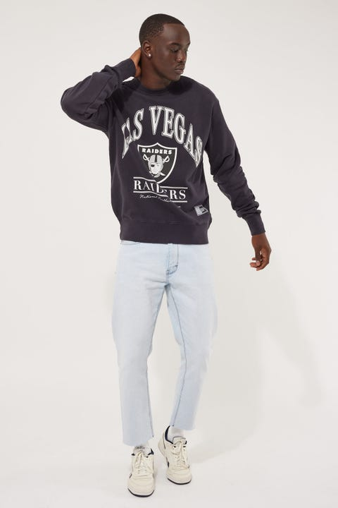 Majestic Athletic Raiders Vintage NFL Arch Crew Faded Black