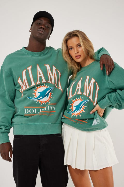Majestic Athletic Miami Dolphins Vintage NFL Arch Crew Teal