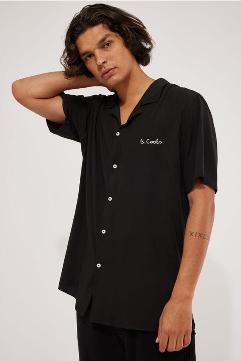 Barney Cools Holiday Camp Collar Shirt Black