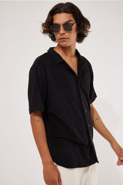Barney Cools Holiday Terry Shirt Black