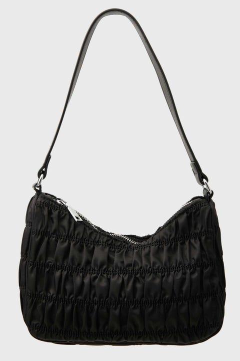 TOKEN Ruched Shoulder Bag Black