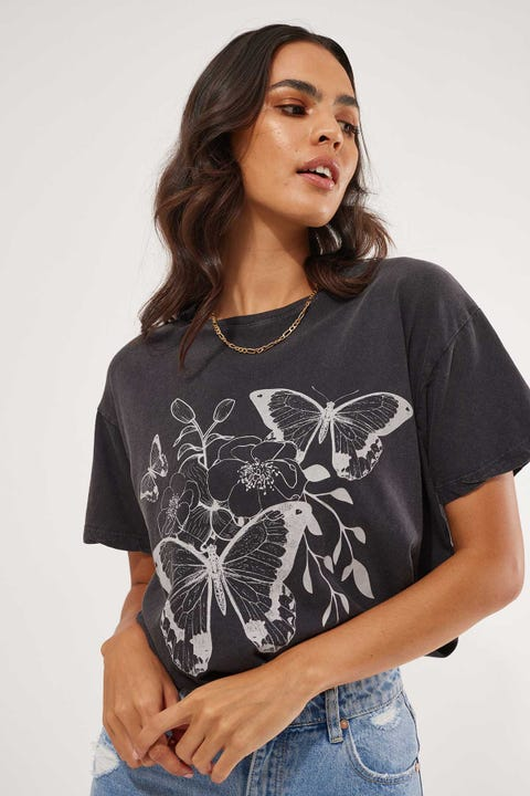 All About Eve Flutter Tee Washed Black
