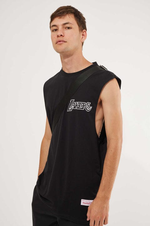 Mitchell & Ness Team White Logo Muscle Black (White Logo)