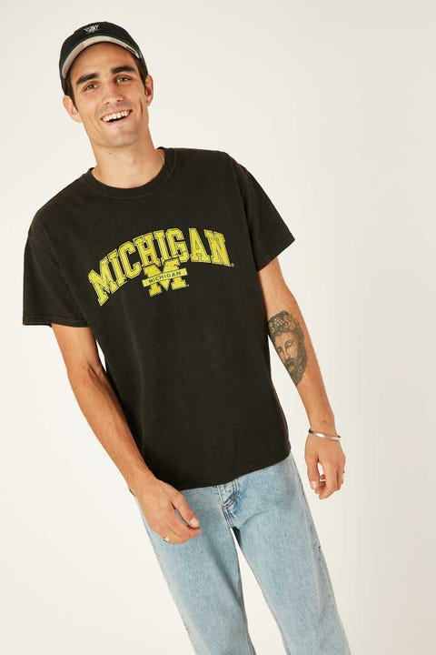 Ncaa NCAA Michigan Vintage Arch Tee Washed Black