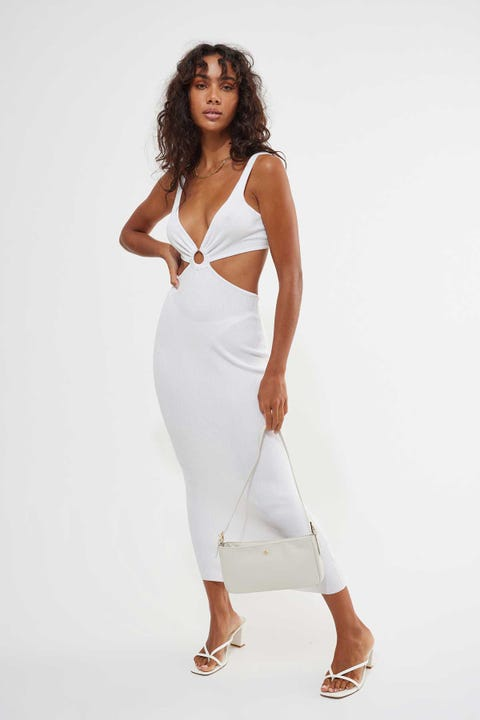 Perfect Stranger Havana O-Ring Knit Midi Dress Off White