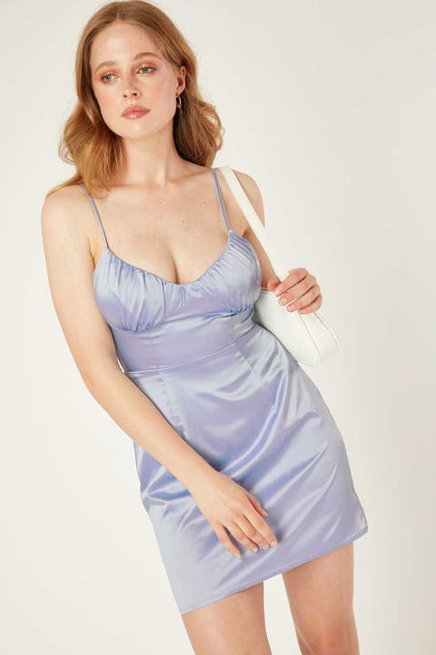 PERFECT STRANGER Status Satin Dress Blue Violet