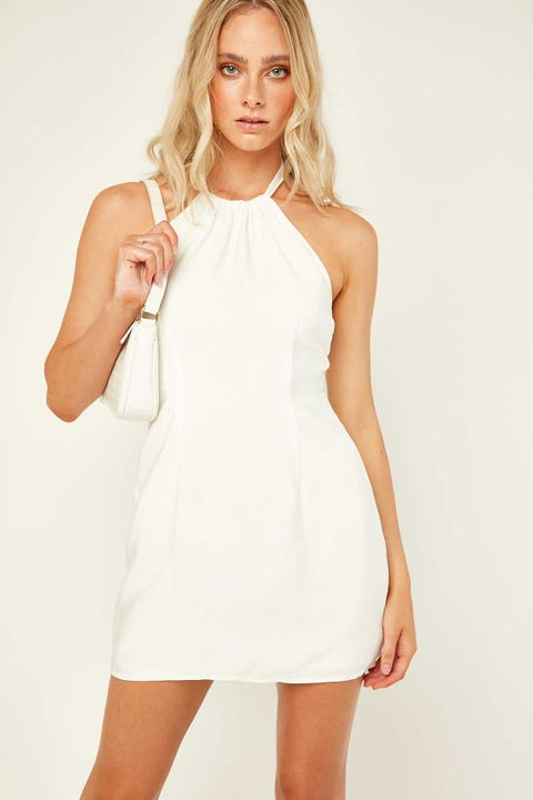 PERFECT STRANGER Halter Neck Mini Dress White