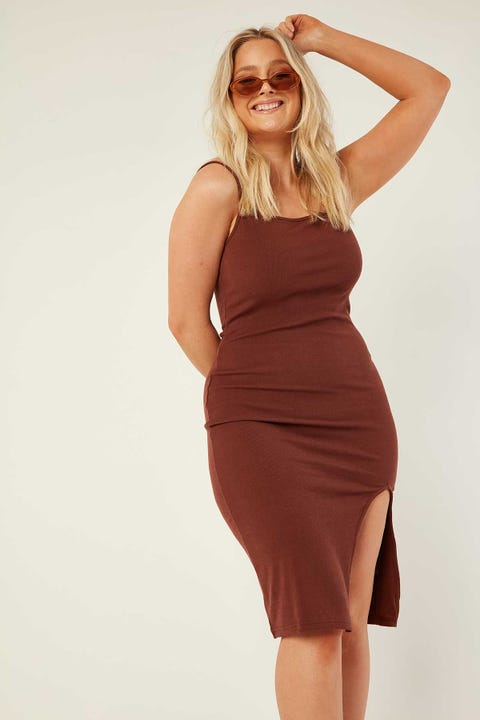 LUCK & TROUBLE Lane Midi Dress Hazelnut