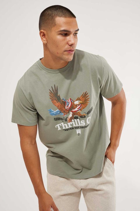 Thrills Rising High Merch Fit Tee Washed Sage