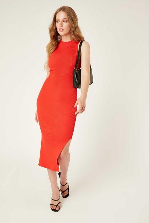 Perfect Stranger Cara Midi Dress Red