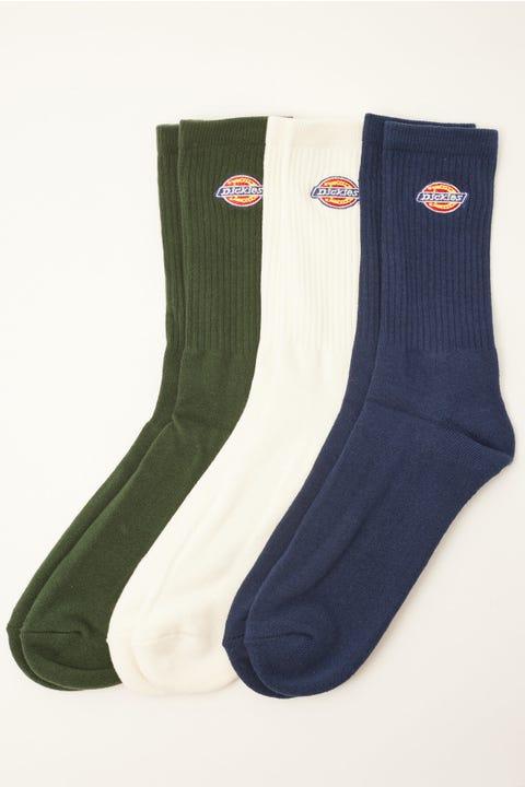 Dickies HS Rockwood Crew Socks 3 Pack Bone/Hunter/Navy