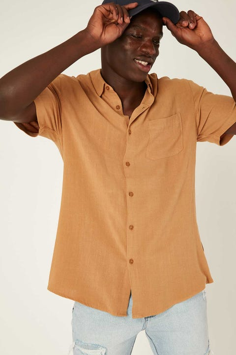 COMMON NEED Daring Party Shirt Tobacco