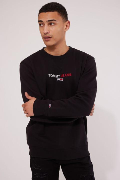 Tommy Jeans TJM Linear Logo Crew Black