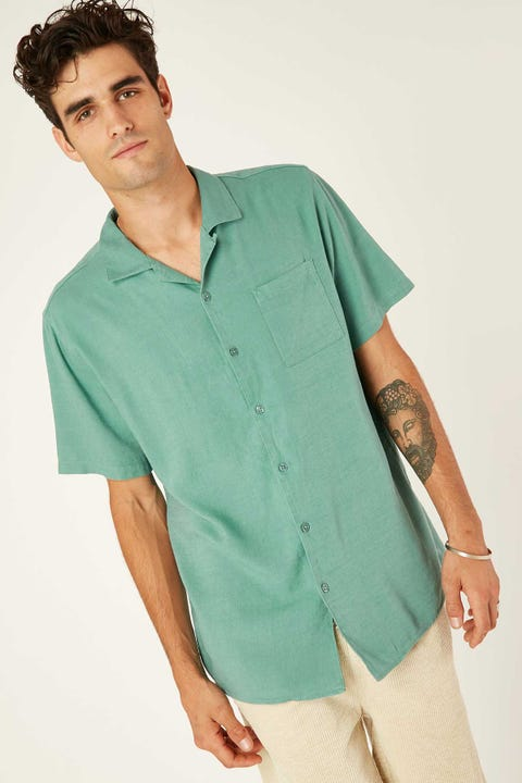 Common Need Relaxation Resort Collar Shirt Teal
