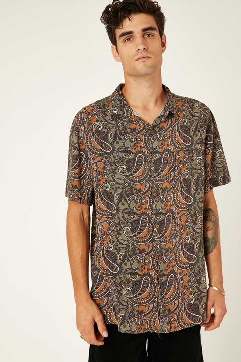 Common Need Jude Party Shirt Brown/Sage Paisley