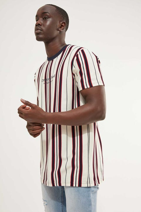 COMMON NEED Detroit Stripe Tee Off White/Navy/Red