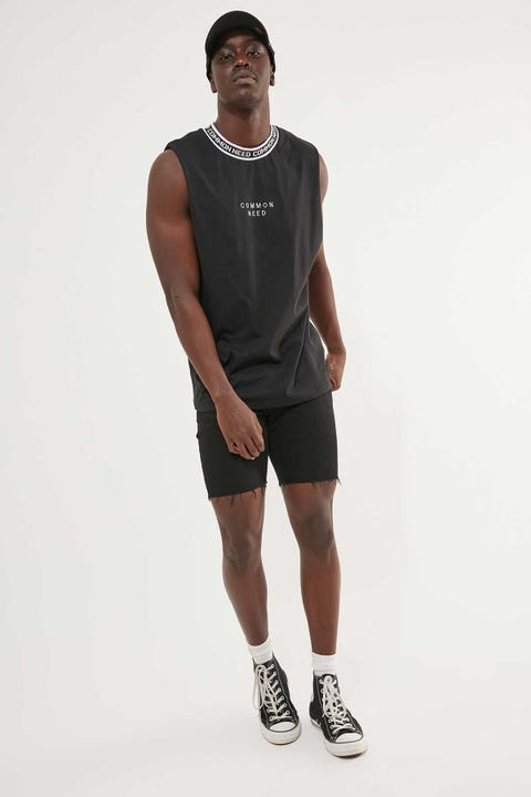 Common Need Logo Muscle Tank Black
