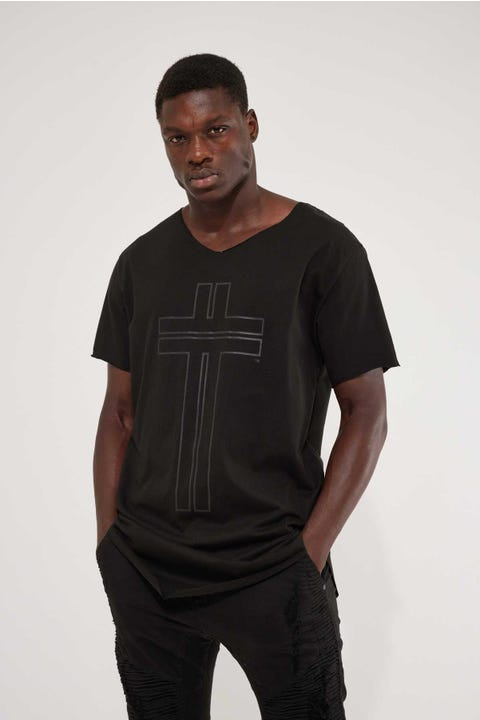 Kiss Chacey Sunset Raw V Neck Tee Jet Black
