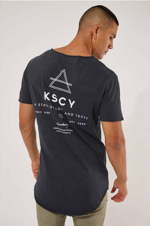 Kiss Chacey Trust Raw V Neck Tee Antrasite Black