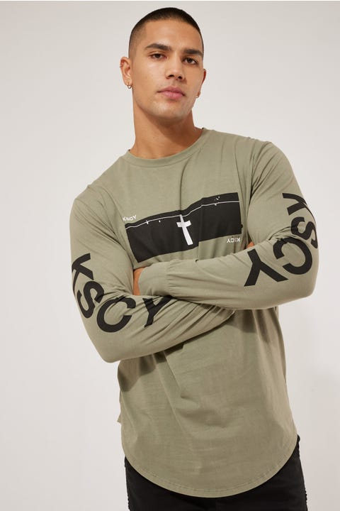 Kiss Chacey Till Then Dual Curved LS Tee Pigment Khaki