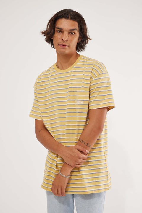 Stussy Text Pocket Stripe Tee Butter