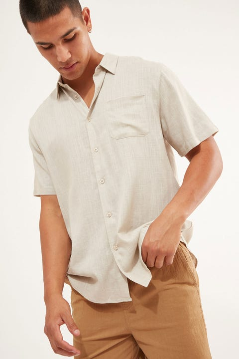 COMMON NEED Relaxation Party Shirt Light Brown