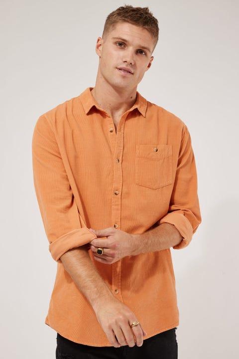 Rolla's Men At Work Cord LS Shirt Rust