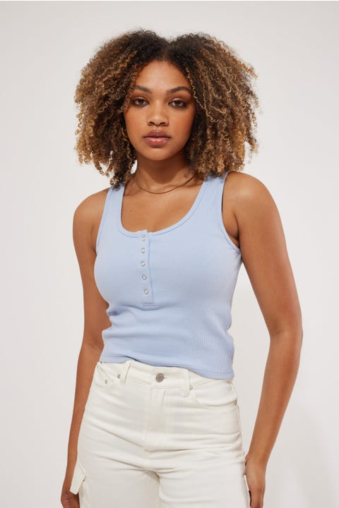 Stussy Mission Rib Placket Tank Pale Blue